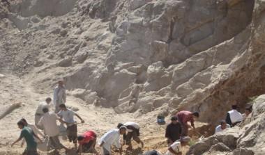 Digging for rainwater haresting reservoir in Almaqaterah